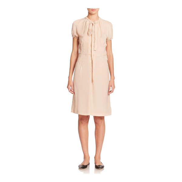 TOMAS MAIER Crepe tie-neck dress - Delicate pintucking accents and ruffled sleeve cuffs add...