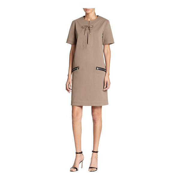 TOME Lace-up twill shift - A lace-up neckline and luminous goldtone zipper pockets add...