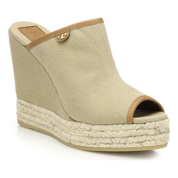 Tory Burch Canvas Amp Espadrille Wedge Mule Sandals
