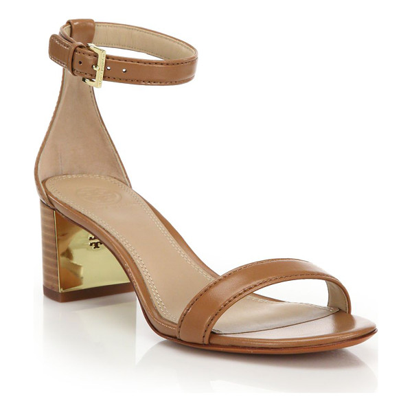 """TORY BURCH Cecile leather mid-heel sandals - Classic heeled silhouette in rich leatherStacked heel, 2""""..."""