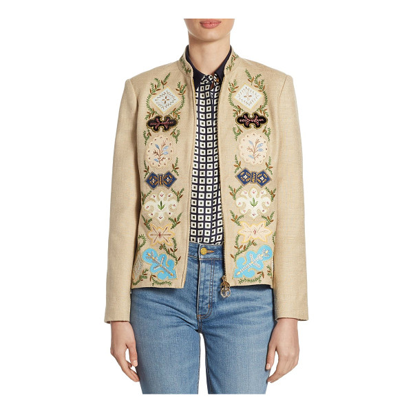 TORY BURCH damian silk jacket - Luxe jacket with attractive floral and vine motifs. Stand...