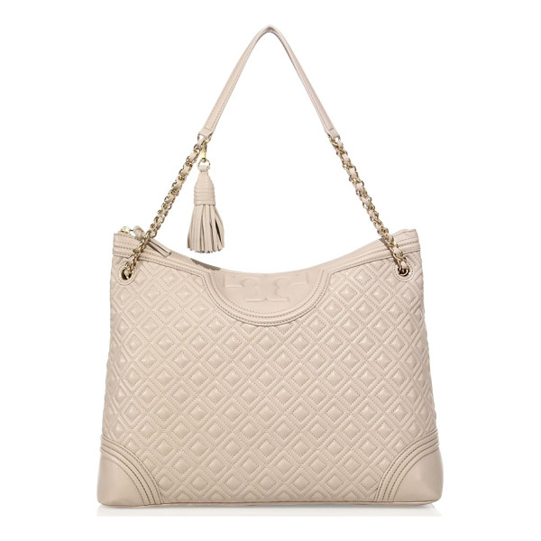 TORY BURCH fleming quilted leather tote - Diamond-quilted leather tote with woven chain strap. Double...