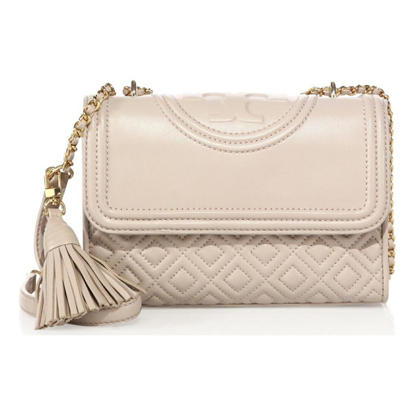 TORY BURCH fleming small quilted leather shoulder bag - Diamond-quilted flap silhouette with woven chain strap....