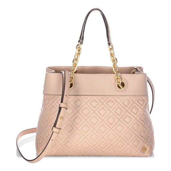 TORY BURCH diamond stitched leather tote - Chains and a quilted design complement this leather tote....