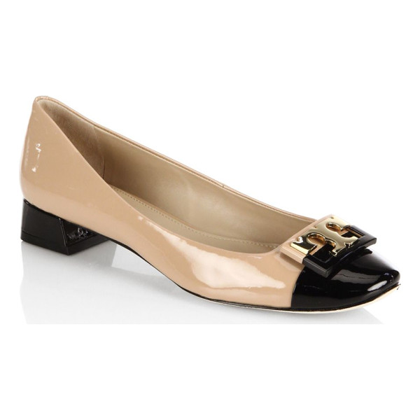 TORY BURCH gigi colorblock patent leather ballet flats - Glossy colorblock ballet flatswith polished logo buckle....