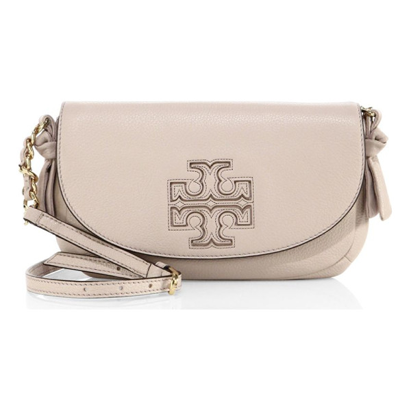 TORY BURCH harper leather crossbody bag - Pebbled leather crossbody with saddle-shaped flap....