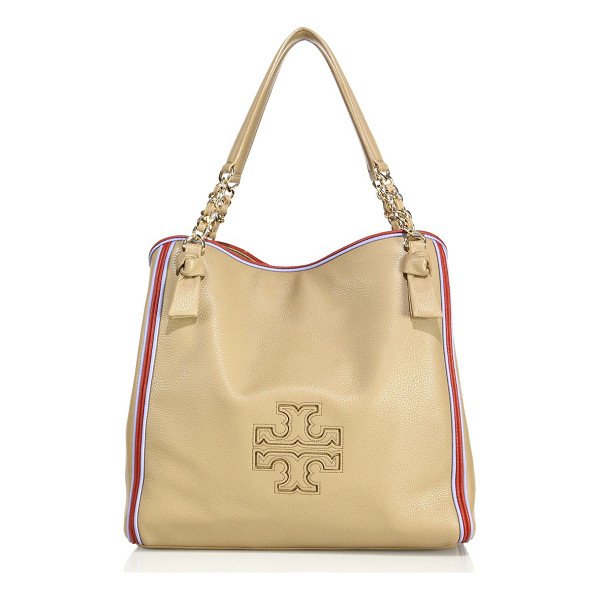 TORY BURCH Harper stripe leather tote - Spacious pebbled leather tote with colorful stripe trim....