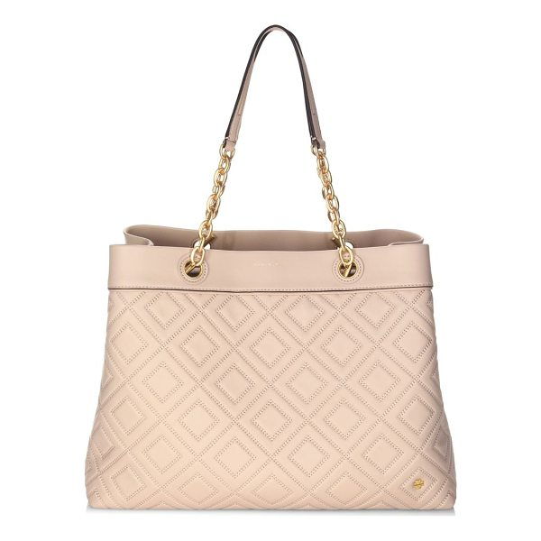 TORY BURCH louisa leather tote - Elegant leather tote featuring a quilted design. Double top...