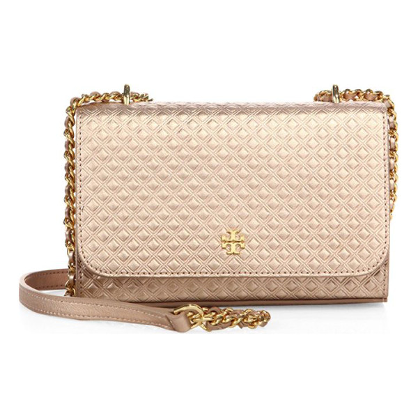 TORY BURCH marion embossed metallic leather chain crossbody bag - Diamond-embossed leather crossbody with metallic sheen....