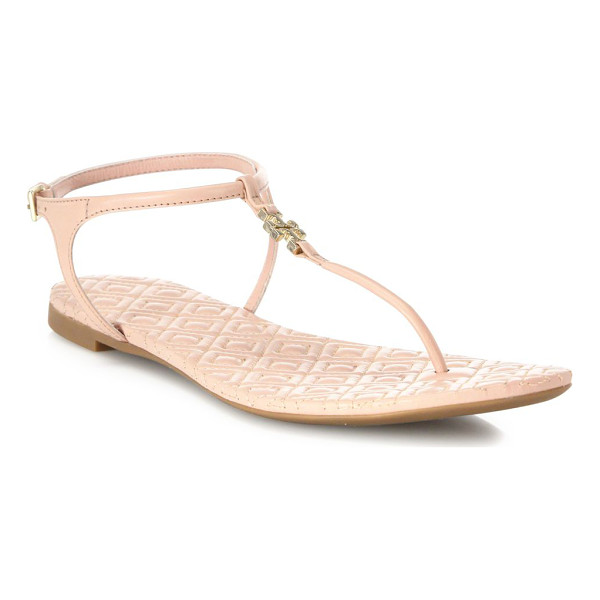 TORY BURCH marion quilted leather t-strap sandals - Logo-accented T-strap tops diamond-quilted footbed. Leather...
