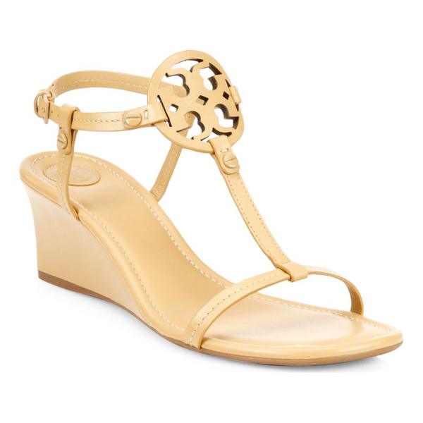TORY BURCH miller leather wedge sandals - Graceful wedge sandals with openwork logo accent. Covered...