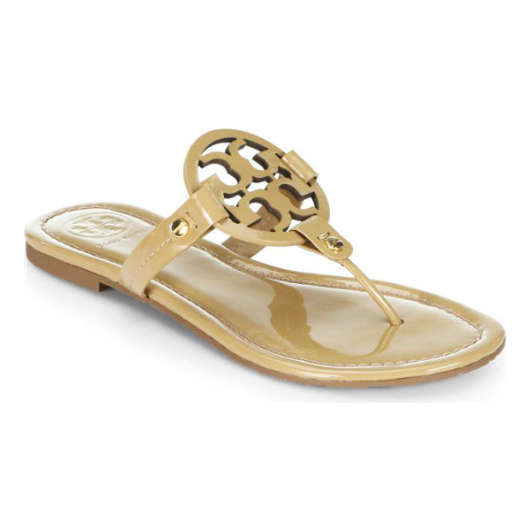TORY BURCH miller patent leather logo thong sandals - Patent thong sandal with distinguished logo vamp. Patent...