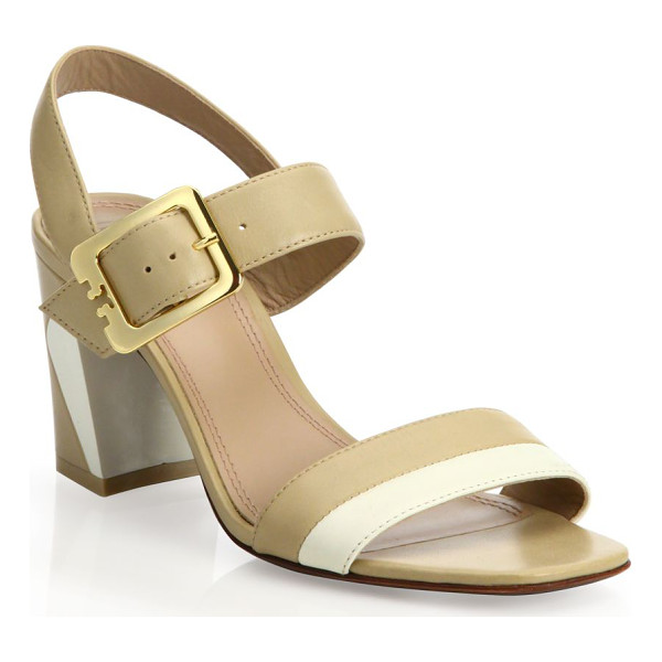 TORY BURCH Palermo leather slingback sandals - Golden buckle secures colorblocked leather...