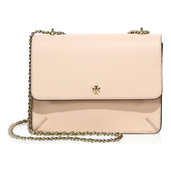 TORY BURCH robinson convertible leather crossbody - A posh chain strap elevates this refined bag. Chain...
