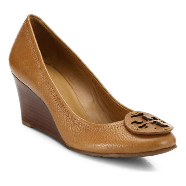 TORY BURCH Sally leather wedge pumps - A signature medallion rests atop this pebbled-grain leather...
