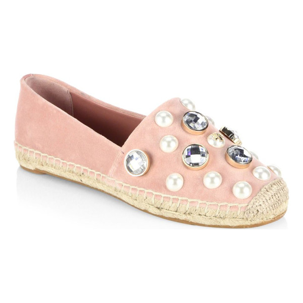 TORY BURCH vail espadrille slip-ons - Pearl studded espadrille slip-ons for an edgy style....