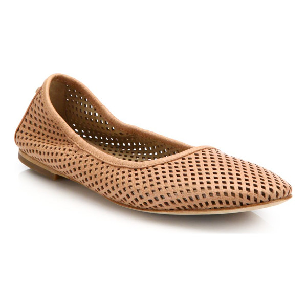 TORY BURCH Whittaker perforated leather ballet flats - Elasticized leather flat with laser-cut diamondsLeather...