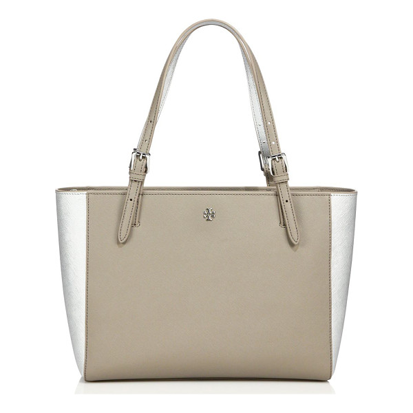 TORY BURCH York small two-tone saffiano leather buckle tote - Spacious two-tone tote design with gleaming buckle...