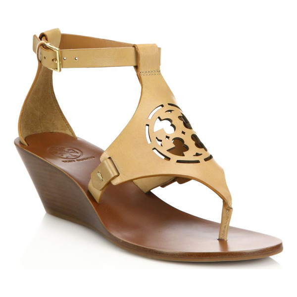 TORY BURCH Zoey leather logo wedge sandals - Leather wedge sandal with chic laser-cut logo top. Stacked...