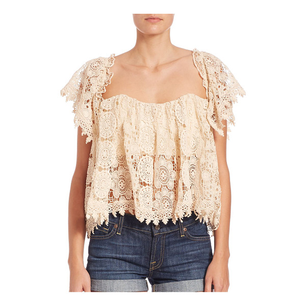 TULAROSA amelia crop top - Flirty lace top with a sexy neckline. Off-the-shoulder...