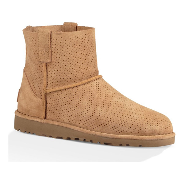 UGG classic unlined mini perforated suede booties - Unlined mini suede bootie with allover perforations. Shaft,