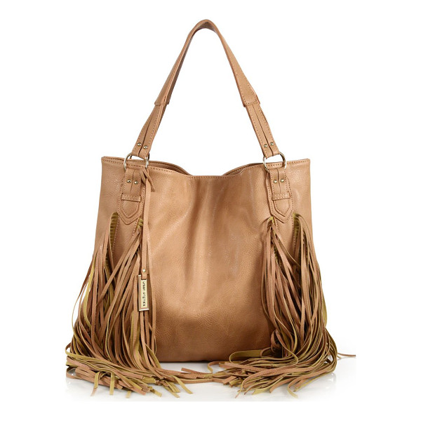 URBAN ORIGINALS Castaway fringed faux leather tote - Faux leather carryall trimmed with swingy fringeDouble top...