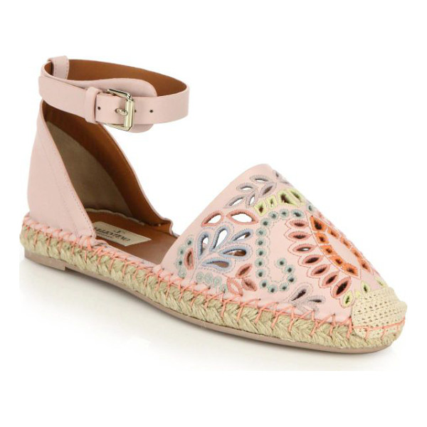 VALENTINO A jour embroidered cutout suede espadrille sandals - Bohemian-chic espadrille sandals beautifully detailed with...