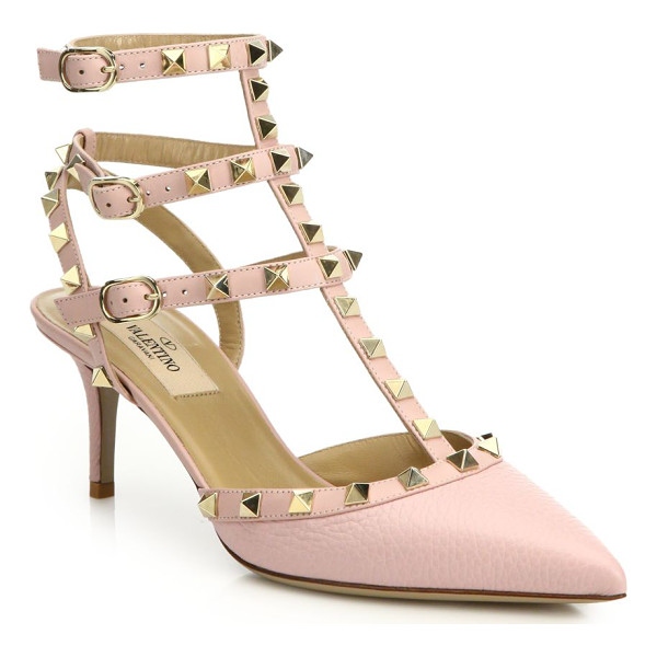 VALENTINO alce rockstud leather slingbacks - Signature rockstuds decorate slingback pumps. Self-covered