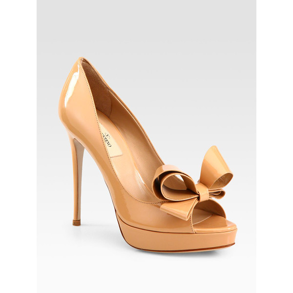 VALENTINO Couture patent leather bow platform pumps - A heightened bow tops this peep toe silhouette in glossy...
