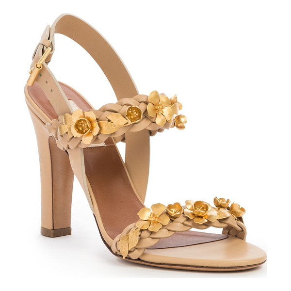 VALENTINO Flower appliqué braided leather sandals - Gilded flowers blossom on braided leather...