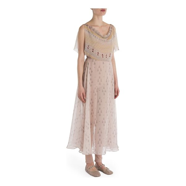 VALENTINO flutter sleeve drape front printed dress - Popover silk dress features a lovely breezy silhouette....