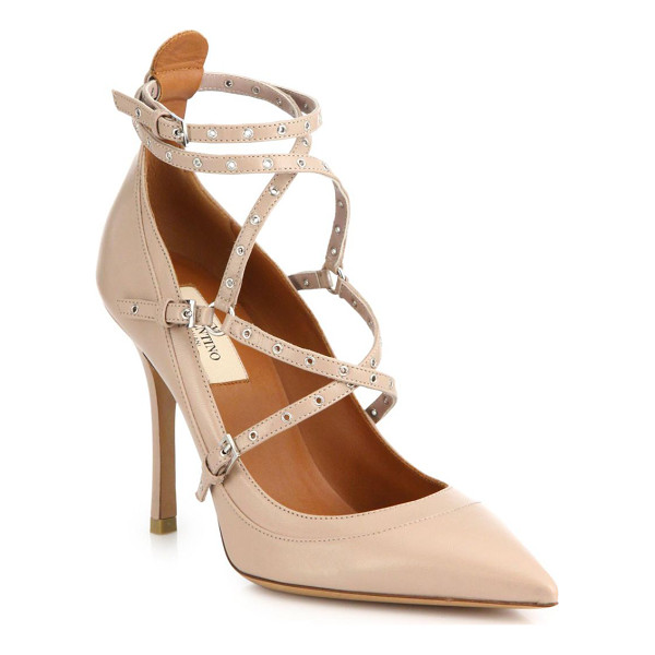 VALENTINO Grommet-studded leather pumps - Delicate grommets lend just a touch of elevated edge to...