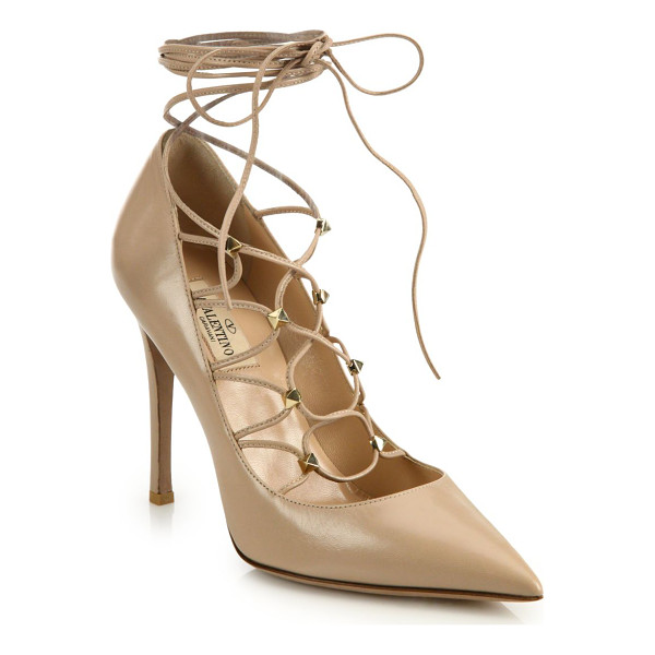 VALENTINO leather lace-up pumps - Sophisticated point-toe pump with chic lace-up design....