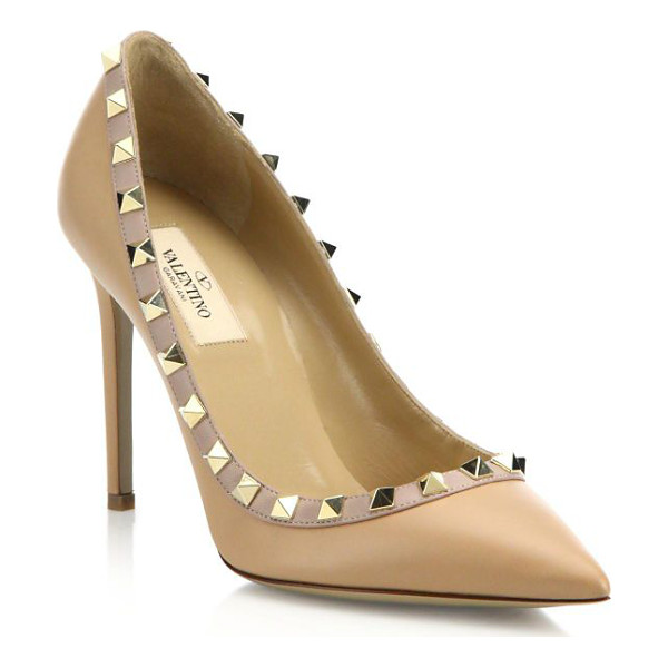 VALENTINO leather rockstud pumps - Leather pump toughened up with chic studs. Self-covered