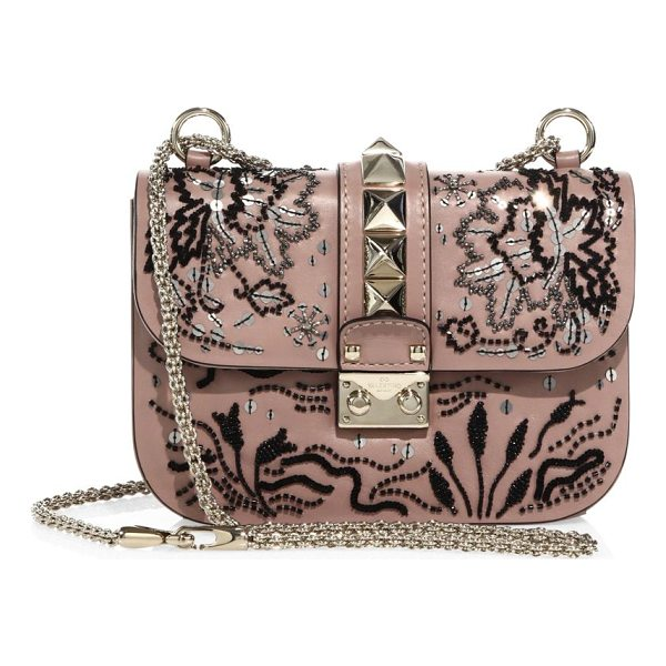 VALENTINO lock small beaded leather shoulder bag - Smooth leather shoulder bag with beaded floral design....