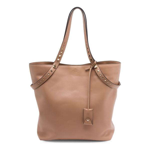 VALENTINO love stud leather tote - Smooth leather tote with graduated rockstud handles. Double...