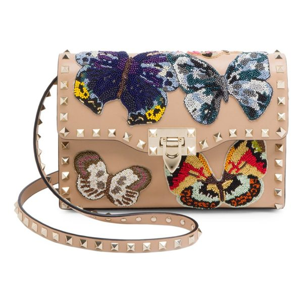 VALENTINO medium rockstud butterfly leather shoulder bag - Studded leather bag with intricately beaded butterflies....