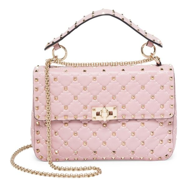 VALENTINO medium rockstud stitched leather chain shoulder bag - Rockstuds elevate elegant diamond-stitched leather bag. Top