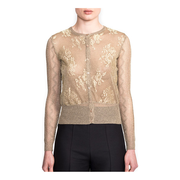 VALENTINO Multi-stitch metallic cardigan - A shimmering, sheer, metallic knit has lace appliqués on...