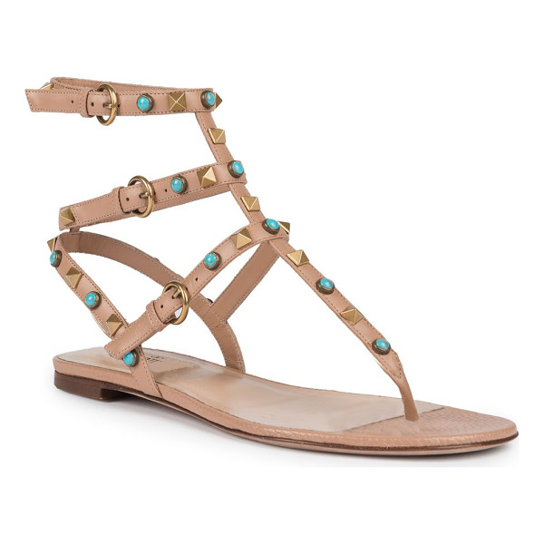 VALENTINO Multi-studded leather gladiator thong sandals - Boho-chic studs color signature leather sandalStudded...
