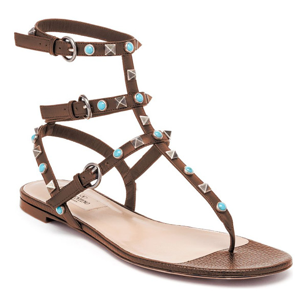 VALENTINO multi-studded leather gladiator thong sandals - Boho-chic studs color signature leather sandal. Studded...