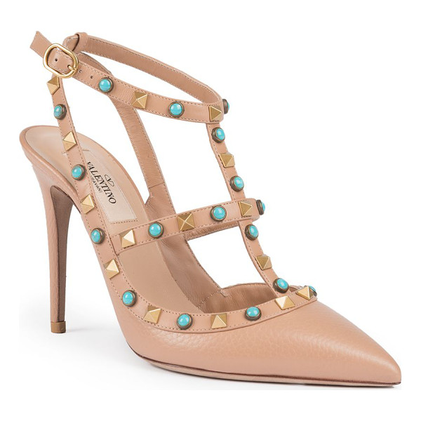VALENTINO rolling rockstud leather slingbacks - Boho-chic studs color signature leather slingbacks....