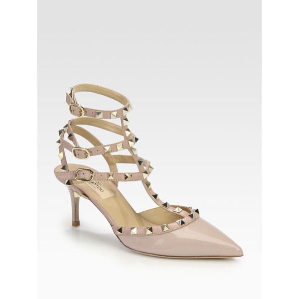 VALENTINO Patent leather rockstud pumps - Iconic metal studs add street-style cool to this point-toe...