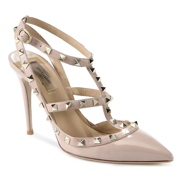 VALENTINO patent leather rockstud slingbacks - Signature metal studs trim this point toe slingback,