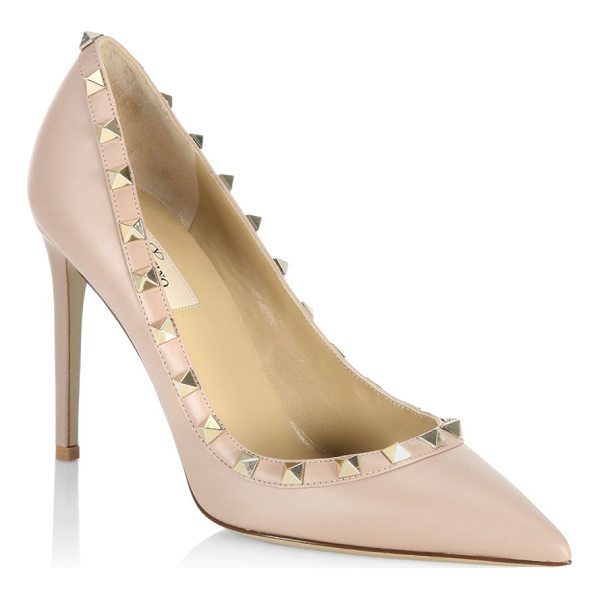 VALENTINO point toe leather pumps - Leather stiletto pumps featuring studded details. Stiletto...