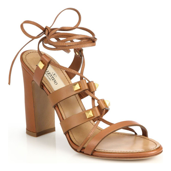 VALENTINO Rockstud leather lace-up sandals - Beautifully crafted lace-up gladiator sandals with a sleek...