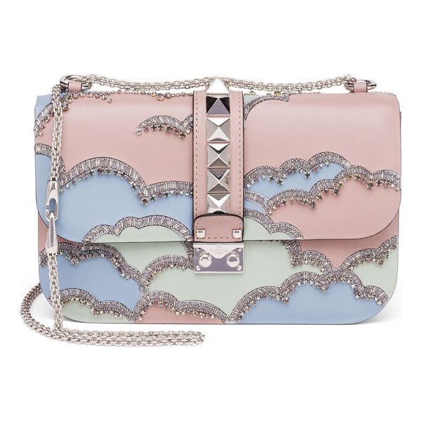 VALENTINO rocklock medium crystal leather crossbody bag - Signature studded style with crystal cloud design. Chain...