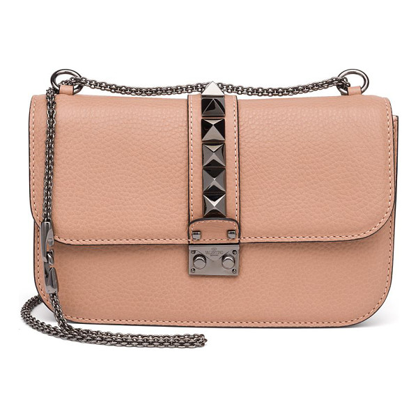 VALENTINO rocklock medium leather crossbody bag - Signature design with sleek chain strap and iconic studs.