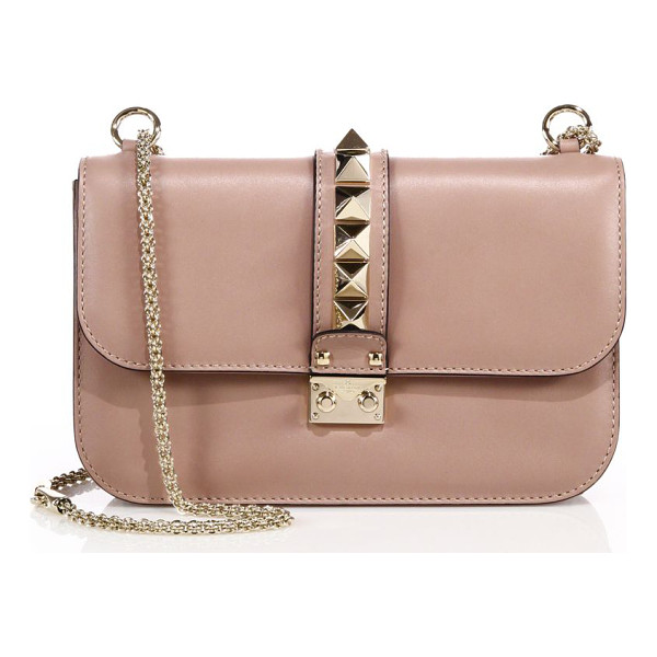 VALENTINO rocklock medium leather crossbody bag - Signature design with sleek chain strap and iconic studs....