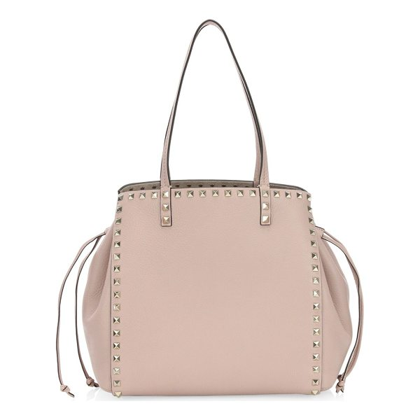 VALENTINO rockstud cinched leather tote - Studded pebble leather tote with cinched drawstring sides....